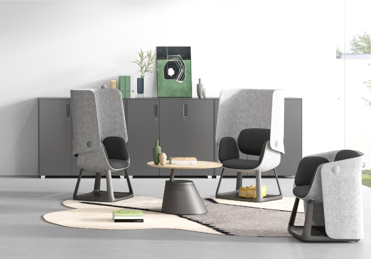 圣奥办公家具 摩几洽谈桌与悠帆座椅搭配场景图
