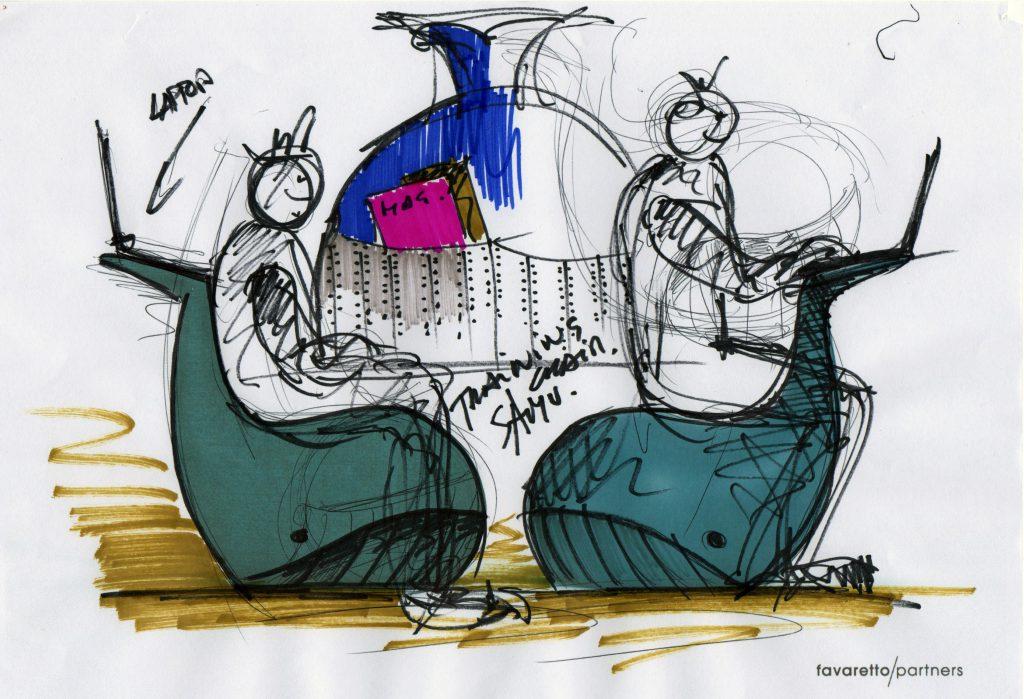 圣奥办公家具 飒姆鲸鱼沙发设计草图